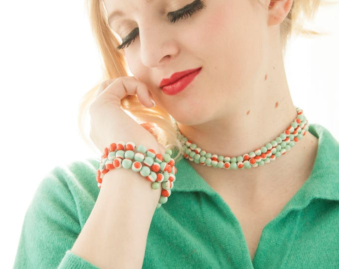 Vintage 1950s green orange jewelry set, sage coral beaded double-strand choker necklace, wrap beads cuff bracelet, pin-up
