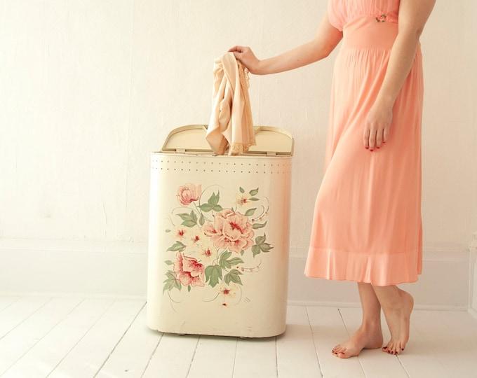 Vintage 1950s pink floral hamper, metal large laundry clothing receptacle storage, pin-up boudoir bedroom bathroom decor, shabby chic