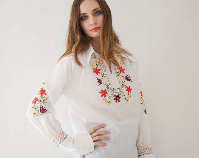 Vintage white embroidered shirt boho blouse, long sleeve hippie colorful rainbow 1970s top flowers Woodstock S M L