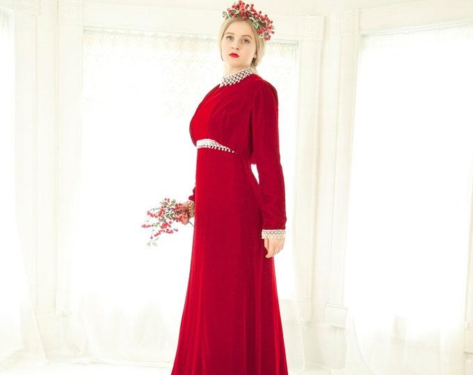 Vintage red velvet maxi dress set, long sleeve bolero, empire waist, white lace Gothic trim, steampunk Victorian boho formal S M 1970s