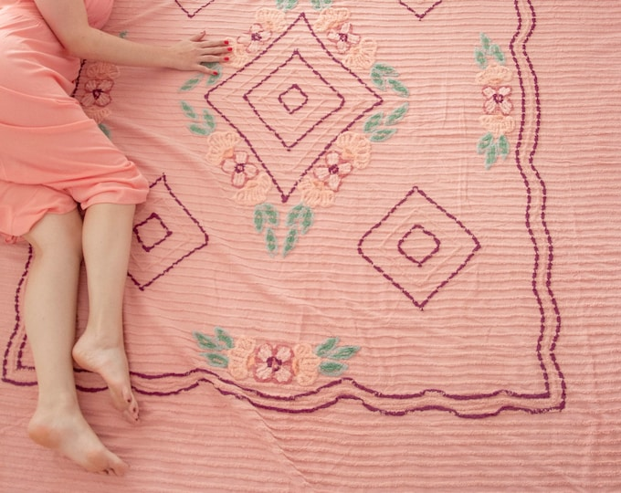Vintage pink chenille bedspread, large blanket purple green floral striped bedding, cotton pin-up boudoir, project cutter as-is fabric