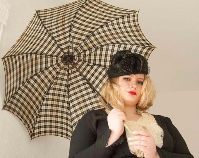 Vintage 1940s black and white plaid umbrella, 1950s nylon wood plastic hook handle