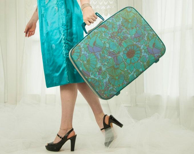 Vintage turquoise floral Samsonsite suitcase, green blue purple flowers, travel luggage L.L. initials, rare mod 1960s retro 1970s