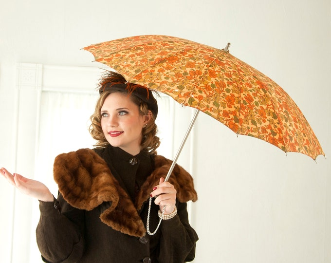 Vintage 1950s autumn leaves umbrella, fall brown orange green, rain gear accessory, rayon Lucite
