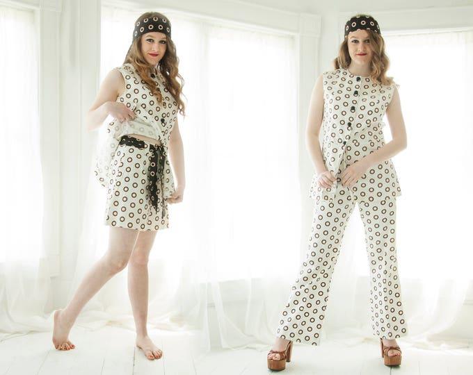 Vintage polka dot pants shorts top set, white black brown bellbottoms high waist pantsuit S petite, five-piece cotton 1970s retro boho