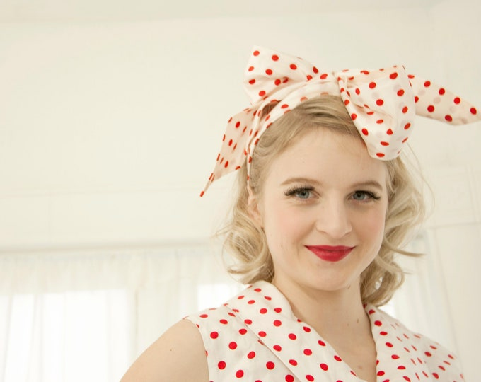 Vintage white red polka dots scarf, head hair bow tie headband belt, silky 1950s pin-up