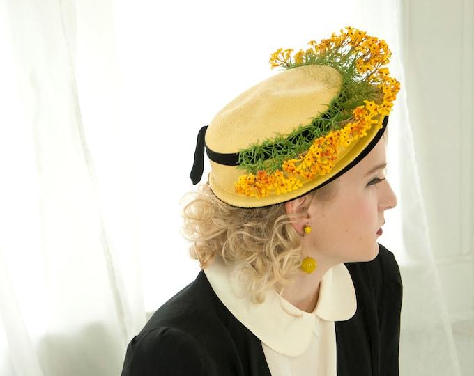 Vintage 1940s yellow floral hat, black velvet brim sailor halo crown, gold orange green, 1950s pin-up