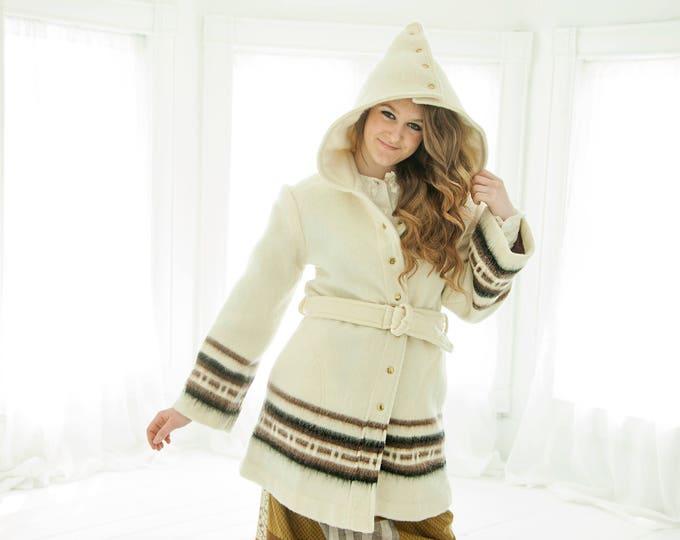 Vintage white wool coat, removable hood, bell sleeves, brown stripes wool boho retro S M 1970s, Davis of Boston