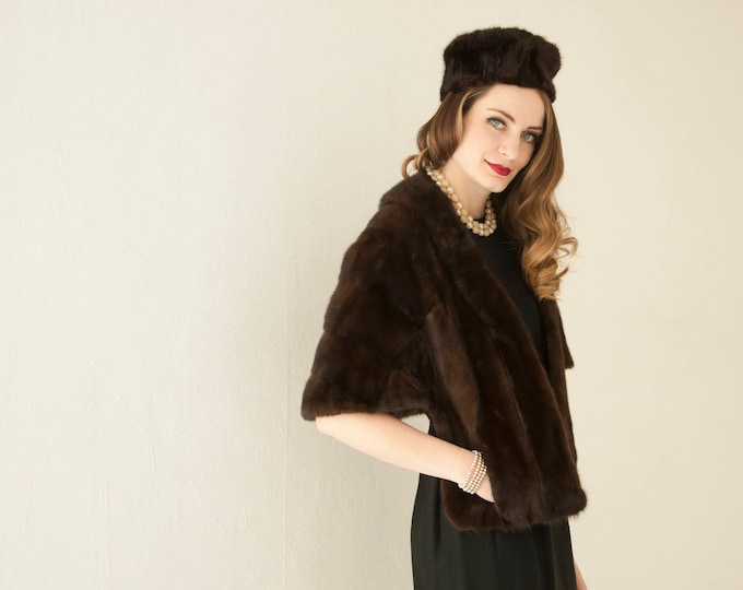 Vintage 1950s fur stole, dark brown striped wrap cape shawl shrug, silk lined, pockets, pin-up formal