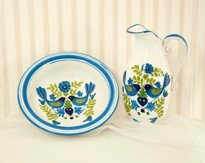 Vintage blue birds large pitcher, bowl set, ceramic pottery wash basin stoneware, cobalt white Italian Italy hand-painted folk art vase