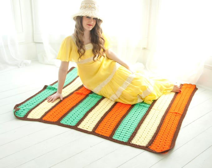 Vintage striped afghan, orange green yellow brown retro 1970s throw blanket