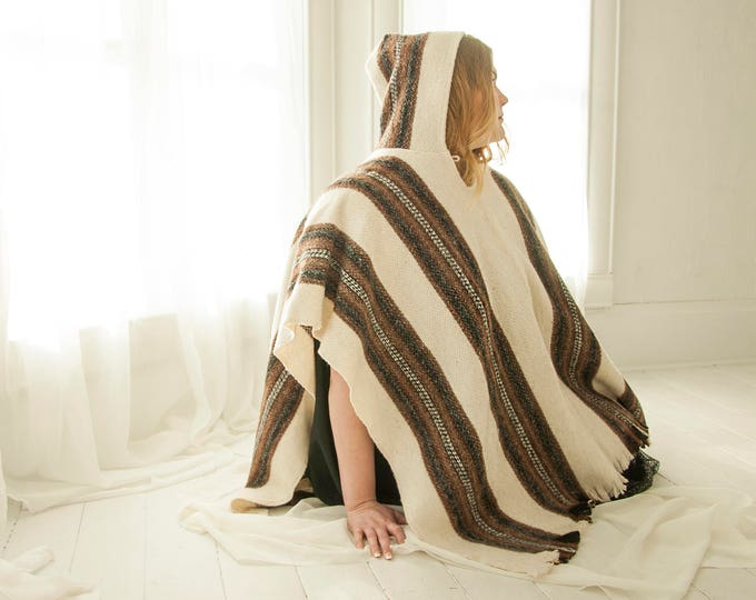 Vintage wool striped poncho, white brown black hood, woven blanket hooded cape, fringe, 1970s boho OSFM