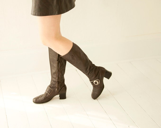Vintage brown leather boots, tall boho retro, black heel, silver buckle, 1970s 8.5 9