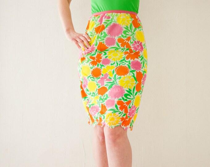Vintage colorful floral slip skirt, bright orange yellow green pink half short nylon lingerie, high waist, mod retro 1960s 1970s S