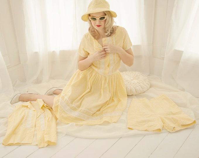 Vintage yellow four-piece outfit dress set: high waist skirt shorts sleeveless top shirt cotton white stripes, 1950s pin-up summer XS S