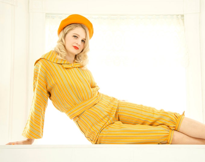 Vintage knickers outfit suit, yellow orange wool striped three-piece set, high-waist pants skirt, crop jacket top, sailor collar, XS S 1970s
