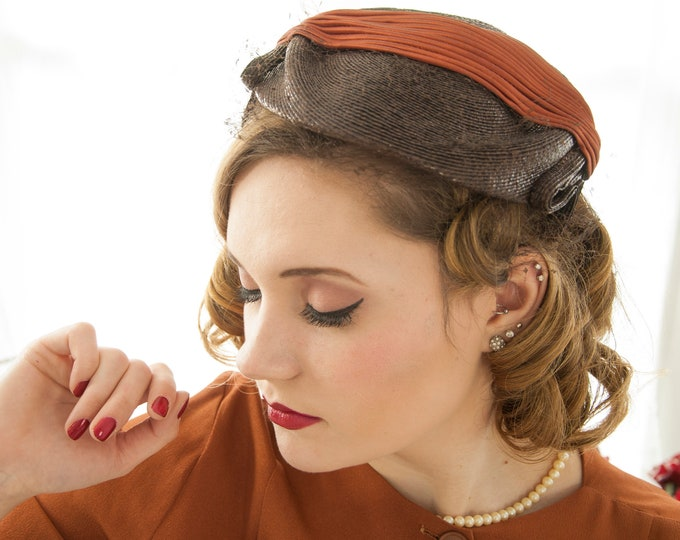 Vintage 1950s brown Saks Fifth Avenue hat, dark russet caramel satin, woven formal pillbox headpiece, netting veil, formal pin-up