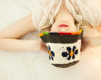 f47cc67b82e465 Vintage blue daisy knit stocking hat, rainbow colorful floral wool winter  crochet 1970s boho retro