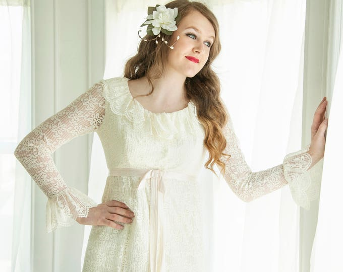 Vintage lace long sleeve wedding dress, flounce bell sleeves, white sheer floral, empire waist, Victorian boho XS S petite 1960s