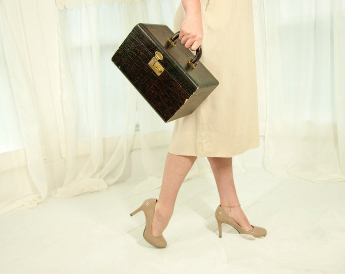 Vintage 1940s train case, brown faux-crocodile leather carry-on luggage, small suitcase brass, mirror makeup storage
