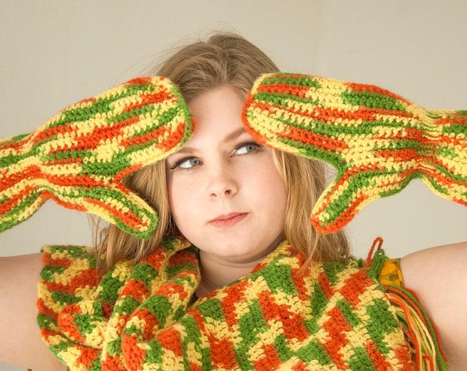 Vintage retro mittens scarf set, avocado green burnt orange gold yellow crochet handmade fringe variegated 1970s, unworn OSFM unisex