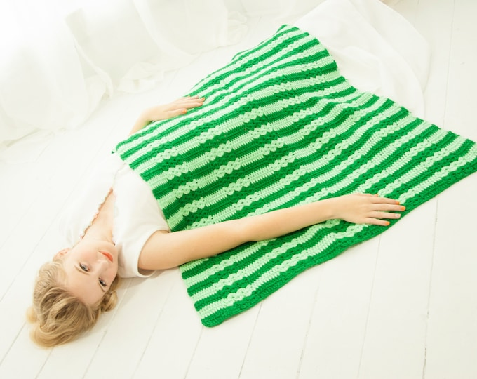 Vintage green striped afghan, small throw lap baby accent blanket, mint kelly 1970s retro handmade home decor gift