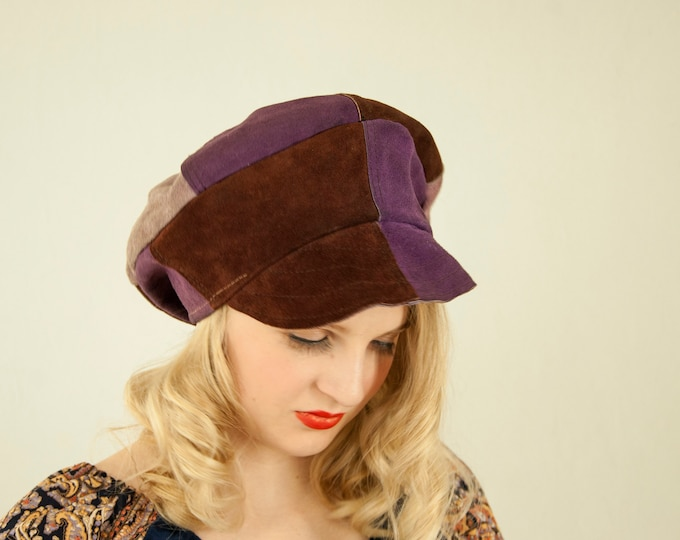 Vintage purple suede newsboy hat, patchwork leather gatsby unisex paperboy cap, brown boho retro 1970s