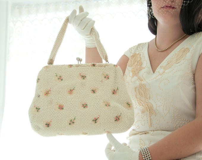Vintage white beaded purse, large handbag pink green floral embroidery, beads beading, formal 1950s 1960s
