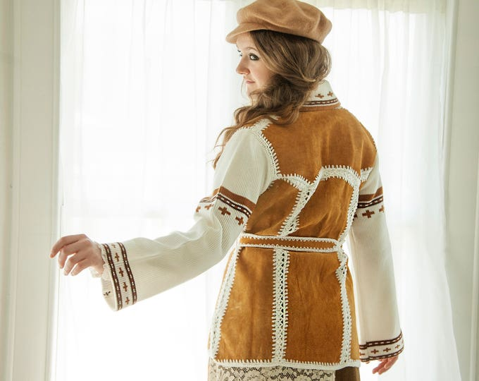 Vintage suede sweater jacket, white brown knit bell sleeves, stripes crosses patchwork crochet boho retro leather S M L 1970s