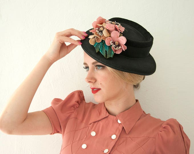 Vintage black 1940s hat, pink flowers floral, turquoise blue feathers, 1950s 1930s formal rose mauve
