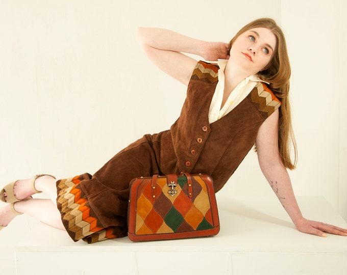 Vintage suede skirt vest set, dark brown burnt orange chevron patchwork suit high-waist midi leather boho retro 1970s M
