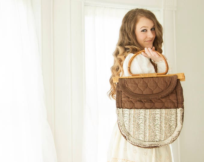 Vintage brown quilted handbag purse, wooden bamboo handle, boho white cotton floral, retro 1970s