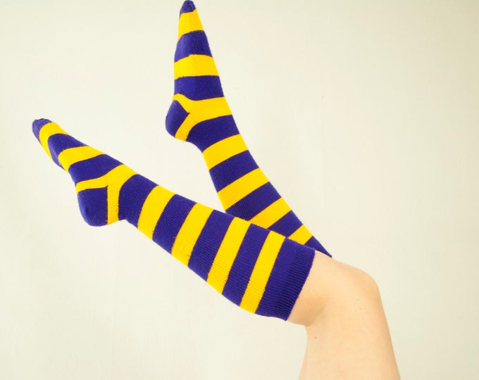 Vintage purple gold socks, knee-high striped stripes ladies acrylic stockings, yellow 1970s retro mod