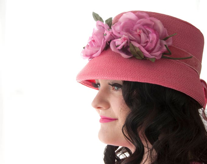 Vintage pink floral hat, 1950s formal, woven bright colorful flowers rose pin-up mid-century
