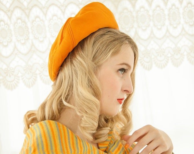 Vintage orange beret hat, mod boho retro bright 1960s 1970s