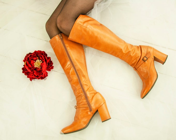 Vintage tall cognac boots, genuine leather brown rust orange heels, buckles, 1960s mod go-go 1970s retro boho 7.5 Spain