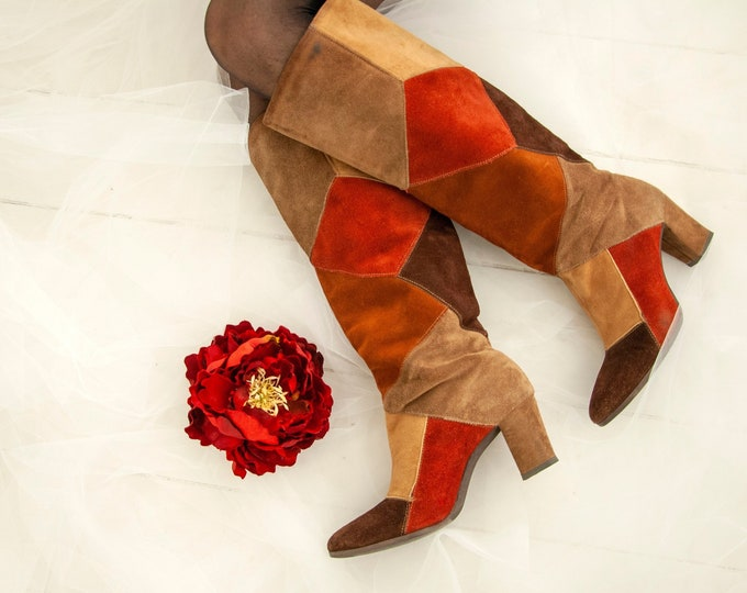 Vintage suede patchwork boots, genuine leather 1970s retro mod go-go tall knee high, autumn rust orange brown tan, heels, pull-on, 6 6.5