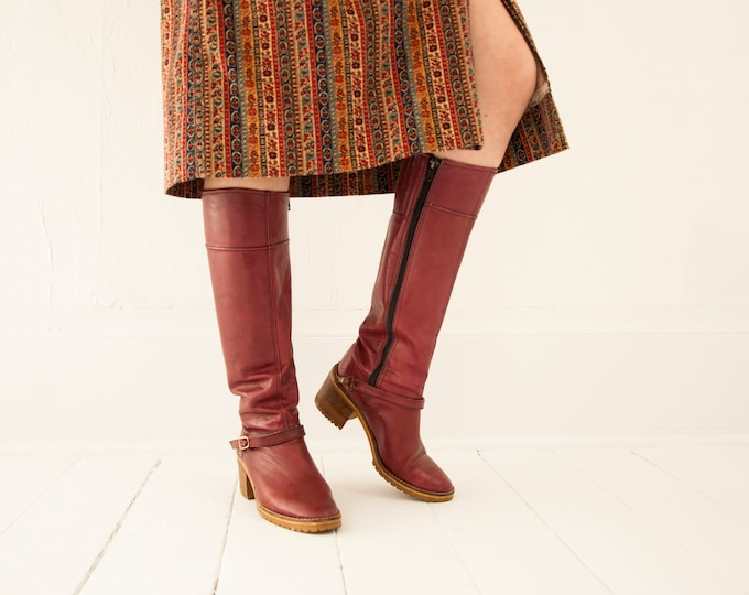 Vintage burgundy boots, tall leather 1970s red oxblood boho retro tall rubber heel, buckles, 7 Italy