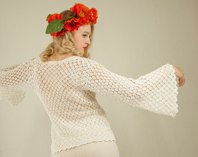 Vintage white bell-sleeve sweater, crochet top blouse shirt boho sheer see-through summer S M 1970s