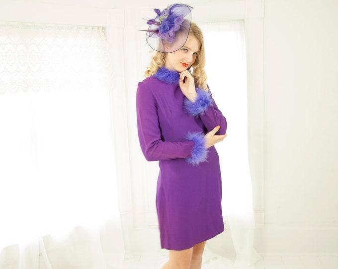 Vintage purple mini dress, feathers, long sleeve marabou go-go glam 1960 S