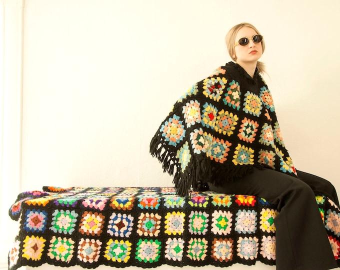 Vintage granny square afghan throw blanket, black colorful rainbow patchwork, 1970s retro boho handmade crochet