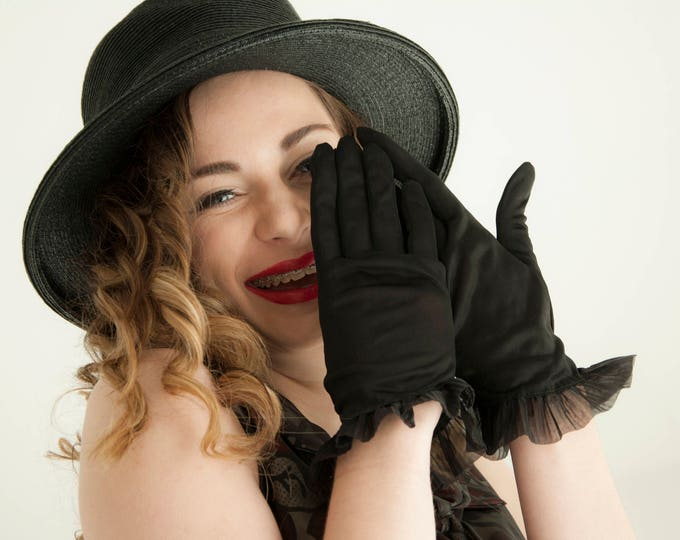 Vintage black sheer gloves, short formal 1950s ruffle prom, extra large pin-up XL