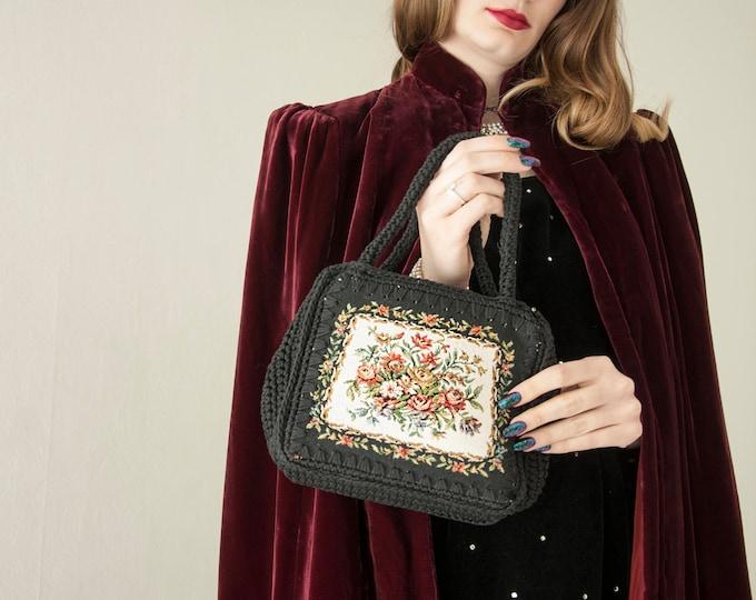 Vintage black floral purse, needlepoint style handbag, tapestry roses crochet 1950s 1960s
