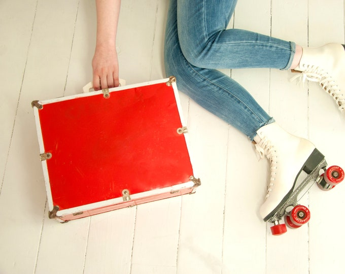 Vintage red roller skate case, small hard suitcase, metal wood white hardshell travel luggage, 1960s