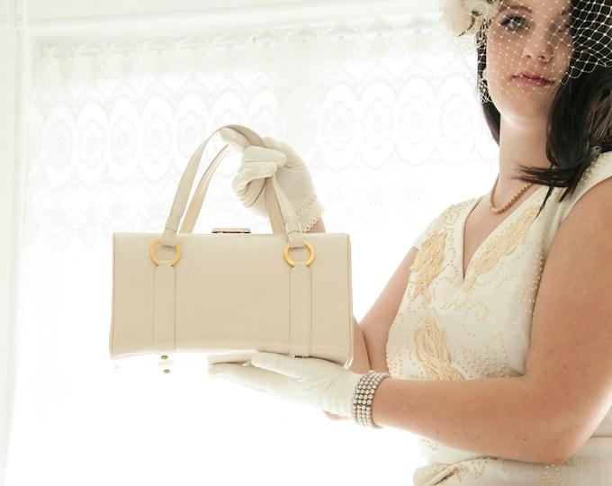 Vintage white box purse, 1960s mod handbag, ivory vinyl faux patent leather kelly, 1950s