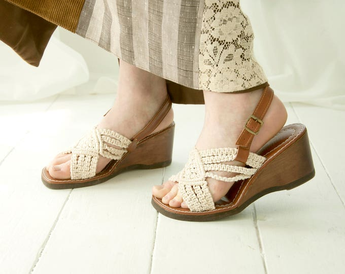 Vintage wedge sandals, white macrame brown boho leather heels shoes, braided retro 1970s summer, 6.5 7