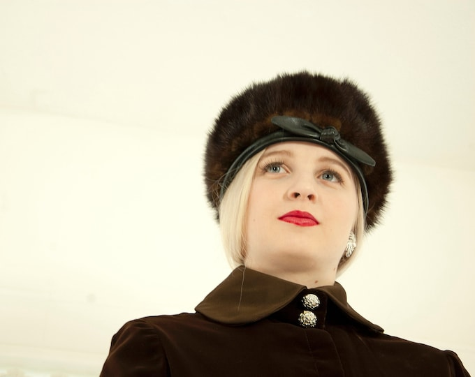 Vintage 1960s brown fur hat, dark mink black genuine leather bow, mod tall cossack 1950s pin-up winter formal