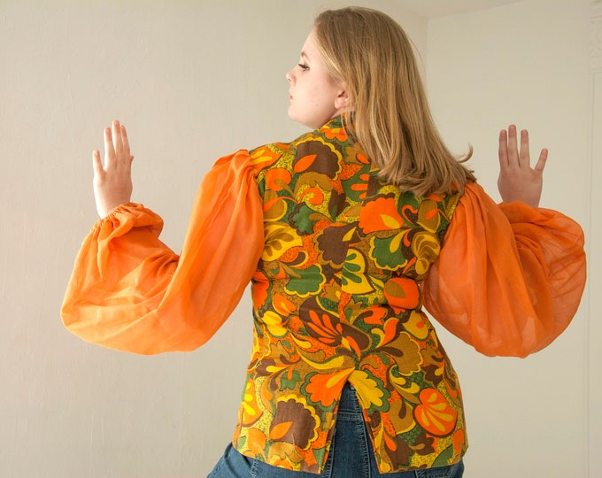 Vintage orange poet-sleeve blouse, green floral shirt top, L XL 1960s 1970s retro