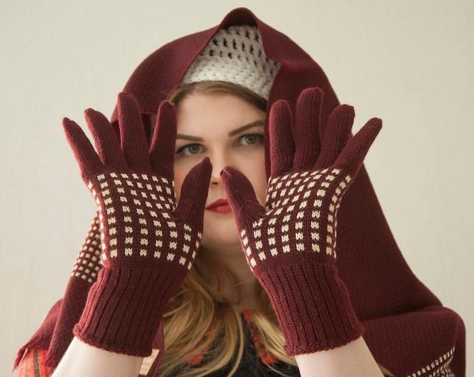 Vintage 1950s maroon wool scarf gloves set, original gift box, fringe ivory red burgundy winter mens Londonderry