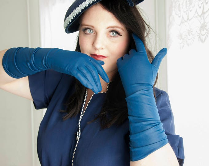 Vintage long blue gloves, 1950s pin up formal prom, silky Prussian, England M L